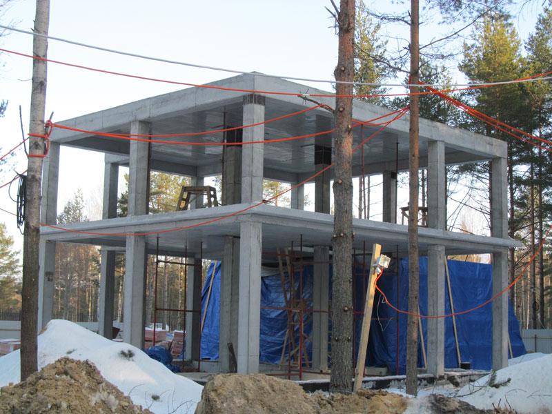 Дом с бетонным каркасом своими руками 64